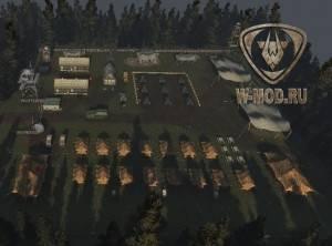 Открытый ангар Военная база общий план